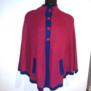 ⚡ Hot in Hollywood Red / Navy Sweater Poncho